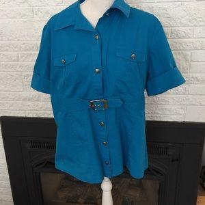 LA Blues faux belted shirt